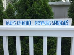 Mermaid sign shelf sitter-mermaids splashing, beach quote, beach house gift, beach ,wood beach sign, shabby chic beach, nautical decor.  Calling all mermaids!This happy little distressed wooden beach sign will bring a smile to your face every time you see it! $17.77