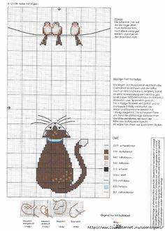 cat and bird cross stitch