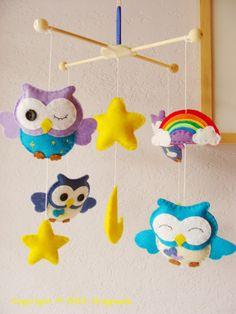 So adorable! Handmade owl baby mobile.