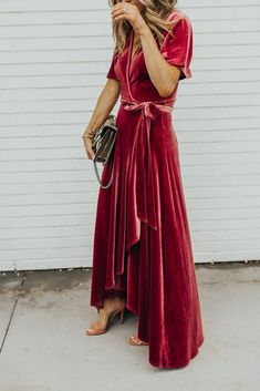 Red velvet dress, robe style dress, red velvet robe dress - perfect for fancy or casual wear, could be dressed up or down; looks comfortable enough to wear around the house.
