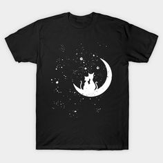 Romantic Cat Couple Sitting On The Moon In The Stars - Cats - T-Shirt | TeePublic.  A romantic evening for cat lovers. Star gazing across the galaxy while sitting on the moon. Romantic Animals, Love Shirt, T Shirt, Cat Themed Gifts, Cat Couple, Look At The Moon, Kitten Meowing, Romantic Evening, Moon Goddess