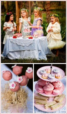 "Forest Tea Party...i like the idea of dressing up a smaller ""kid"" sized table"