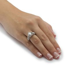 2.15 TCW Round Cubic Zirconia Crown Ring in Platinum over Sterling Silver on PalmBeach Jewelry