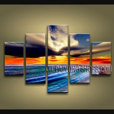 Huge Contemporary Wall Art Oil Painting On Canvas Gallery Stretched Beach. This 5 panels canvas wall art is hand painted by E.Cheung, instock - $327. To see more, visit OilPaintingShops.com