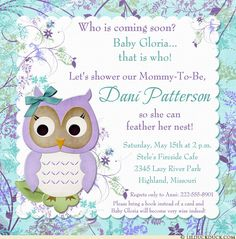 Garden flower owl baby shower invitation welcomes your guests to see who is coming soon! Crisp floral patterns, custom blue, white & purple colors, sweet