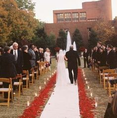 Natalie Bradley Events, outdoor wedding ideas, aisle lined with flowers and candles, wedding ceremony