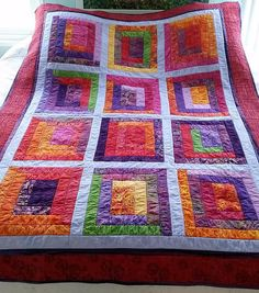 Quilt - Modern, Contemporary Log Cabin, Twin, Dorm, Couch Throw, Blanket - Orange, Purple, Lime Green, Violet, Multicolored