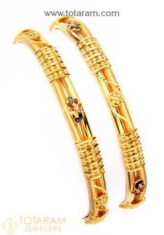 22 Karat 'Peacock' Gold Bangles - Set of 2 (1 Pair)