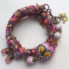 Sari Silk butterfly Wrap bracelet, beaded wrap bracelet, purple pink ribbon wrap bracelet, boho, gift for her, uk shop, insect wrap