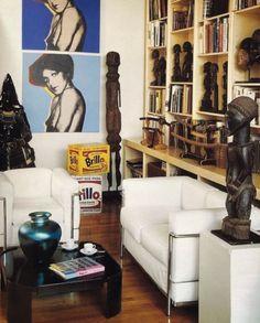 Manhattan Apartment, African Masks, Statue, Tribal Art, Bookshelves, Design Inspiration, House Design, Interior Design, Artist