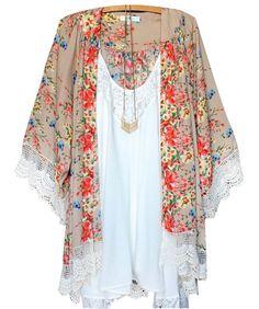 exy Women Swimwear Floral Lace Kimono Cardigan Kaftan Cover Up Beach Dress