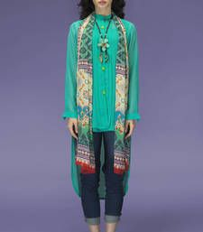 Buy Aqua Chiffon Fancy Full Sleeves Tunic kurtas-and-kurti online