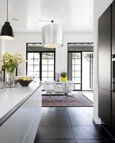 slate flooring - l like the big tiles close together (little to no grout)