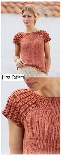 Free knitting pattern for a summer tee mode Free Knitting Pattern for Ladies Tops Sweater Knitting Patterns, Knitting Stitches, Knit Patterns, Baby Knitting, Free Knitting Patterns For Women, Knitting Tutorials, Knitting Machine, Crochet Jumper Free Pattern, Knit Cardigan Pattern