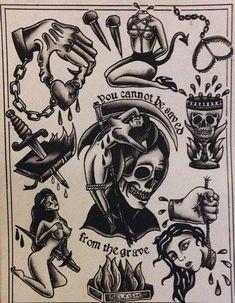 Tattoo Mafia, 4 Tattoo, Tattoo Outline, Dark Tattoo, Traditional Tattoo Skull, Traditional Tattoo Black And White, Traditional Heart Tattoos, Tattoo Flash Sheet, Tattoo Flash Art