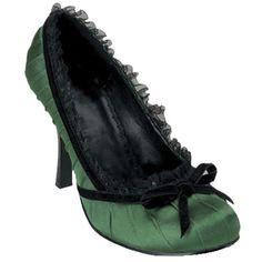 Pleaser. Een groene hak met zwarte details, een strikje en een rand van kant. Hak 3,5 inch = 8,89 cm