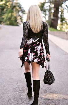 knee high combat boots_floral dress_90s_vintage Chanel bag