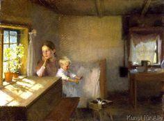Albert Edelfelt - Frau mit Kind in sonnenbeschienenem Interieur