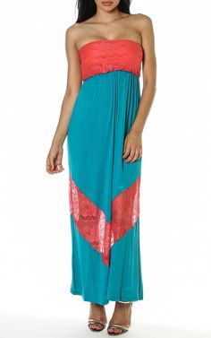 Sheer Lace Chevron Insert Colorblock Tube Top Long Maxi Dress Gown