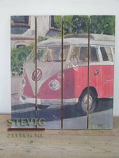 Houten Schilderij Volkswagen T1 busje http://www.steigerhoutmeubilair ...