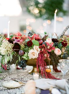 Fall-Themed Centerpiece with Roses and Amaranthus | Arena's https://www.theknot.com/marketplace/arenas-rochester-ny-311121 | Simply Beautiful Events https://www.theknot.com/marketplace/simply-beautiful-events-rochester-ny-220241 | Lacie Hansen Photography https://www.theknot.com/marketplace/lacie-hansen-photography-santa-barbara-ca-888319