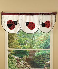 Ladybug Kitchen Collection Maximize the cuteness of your kitchen with this ladybug collection. Ladybug Crafts, Ladybug Decor, Ladybug Garden, Kitchen Window Valances, Plaid Curtains, White String Lights, Lakeside Collection, Class Decoration, Metal Drawers
