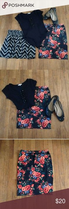 Floral Pencil Skirt SHOES & TOP ARE NOT INCLUDED & ARE FOR VISUAL CONCEPT PURPOSES ONLY.  EUC Black Floral Above The Knee Pencil Skirt With Back Upper Zip Closure.  Great For Spring & Summer.  Thank You Kindly & Please Feel Free To Ask Questions. Have A Blessed Day! Boutique Brands Skirts