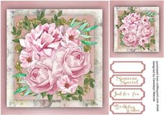 Beautiful Pink Roses in a gold Mat  on Craftsuprint - View Now!