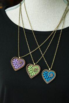Felt and zipper heart pendant by woollyfabulous on Etsy, $25.00