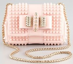 Christian Louboutin Beige Sweet Charity Mini Spiked Shoulder Bag Pink S/S 2013 Cheap Handbags, Handbags Michael Kors, Unique Handbags, Trendy Handbags, Pink Handbags, Wholesale Handbags, Large Handbags, Prada Handbags, Leather Handbags