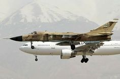 """Iranian Air Force Sukhoi """"Fencer"""" landing alongside a Mahan Air Airbus Military Jets, Military Aircraft, Air Fighter, Fighter Jets, Su 24 Fencer, Sukhoi Su 24, Iran Air, Russian Air Force, Aircraft Pictures"""