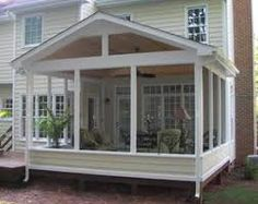 Enclosed porch outside view many people use sunrooms to for Sunroom blueprints free