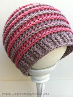 find pattern ~ crochet ribbed beanie ~ these colors are great, too ~ hat pattern No.306 by bubnutPatterns