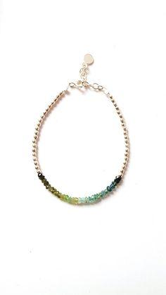 Bracelet tourmaline et argent 925 perle d'argent nuancé