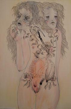 Helani Laisk aka Sleepyfeet aka Red Fox aka Beatrix Cottonmouth (Australian, b. Pop Art Illustration, Illustrations, Red Fox, Pretty Art, Red Lipsticks, Folklore, Ink, Australia, Drawings