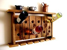 Reclaimed Wood Wine Rack Wine Glass Holder Wall Shelf Riddling Rack Rustic Reclaimed Barn Wood