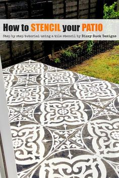 Painting stencils and decals produced in the UK for upcycling furniture, an alternative to wallpaper, create tile effects, decorating stencils UK. Home decor stencils & decals. Concrete Patios, Concrete Flags, Stencil Concrete, Painting Concrete, Floor Stencil, Diy Concrete, Concrete Garden, Diy Patio, Backyard Patio