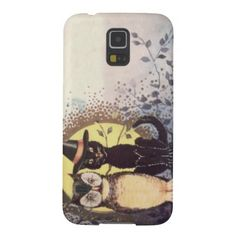Owl Black Cat Full Moon Tree Night Galaxy S5 Cover