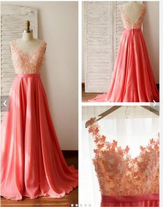 A-Line+Straps+Sleeveless+Empire+Zipper+Prom+Floor-Length+Chiffon+Watermelon+Prom+Dresses+2016