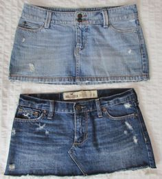2 Women Hollister Micro Mini Jean Skirts Destroyed Distressed Frayed sz 3 EUC