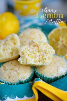 These Skinny Lemon Muffins are made with Greek yogurt, coconut oil and plenty of lemon zest for a fabulous bright, lemon flavor! So tender and moist!