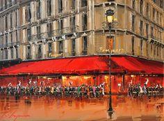 """Kal Gajoum ~ Le Fouquet's Party, Champs Élysées ~ 30""""x40"""""""