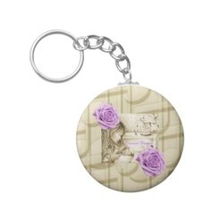 Carousel Dreams Music & Roses Button Keychain by MoonDreams Music #keychain #button #babyshower #mom #carouseldreams #partyfavor #moondreamsmusic #roses #music