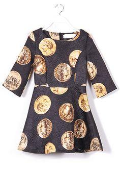 Black Figure Seven's Sleeve Above Knee Cotton Dress