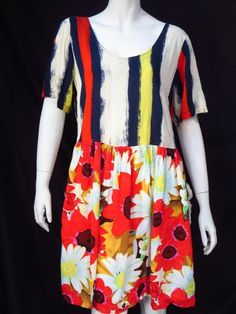 Jams World Floral Striped Navy Red Dress - Medium * #JamsWorld #Shift #Casual