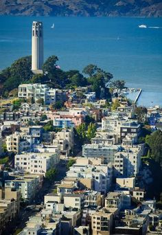 San Francisco- Visit Telegraph Hill and climb the 400 stairs to the top of Coit Tower, a pivotal landmark in San Francisco's skyline. San Francisco City, San Francisco Travel, San Francisco California, San Francisco Skyline, Coit Tower San Francisco, San Diego, The Places Youll Go, Places To Go, Nashville