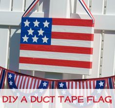 Super-easy flag craft made with duct tape!  Tutorial on Crafts 'n Coffee. #DuctTapeCrafts