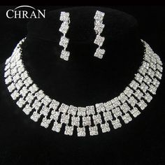 CHRAN Silver Plated Crystal Wedding Jewelry Party Gifts Promotion Cheap Rhinestone Women Bridal Jewelry Sets #Affiliate