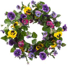 If your pansies are busting out like mine are.... try this Pansy Garden Spring Front Door Wreath