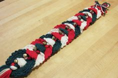 Christmas Wreath Jingle Bell Swag, Handmade Crocheted Dark Green, Red and White Holiday Wall Decor, Christmas Wreath and Bell Door Decor